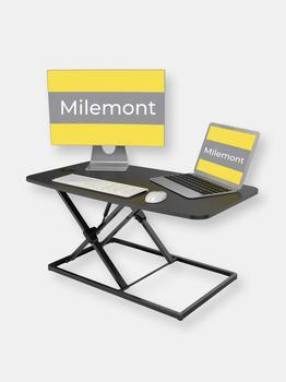 商品Milemont Standing Desk 32 inch Height Adjustable Standing Desk Converter Gas Spring Stand Up Computer Desk Fits Dual Monitors, Sit-Stand Laptop Riser图片