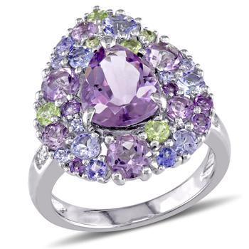 商品Amour 0.02 CT TDW Diamond and 4 1/3 CT TGW Tanzanite, Rose de France, Peridot and Amethyst Ring in Sterling Silver图片