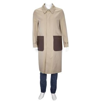 商品Burberry Cotton Gabardine Car Coat With Leather Detail, Brand Size 48 (US Size 38)图片