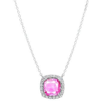 商品Dazzling Rock Dazzlingrock Collection 10 MM Cushion Lab Created Pink Sapphire & Round White Diamond Ladies Pendant, Sterling Silver图片