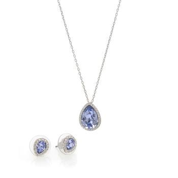 商品Swarovski Laina Rhodium Plated Crystal Necklace And Earring Set 5347548图片