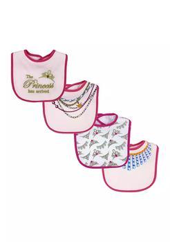 商品Baby Girls 4 Pack Interlock Bibs with PEVA Backing, Princess图片