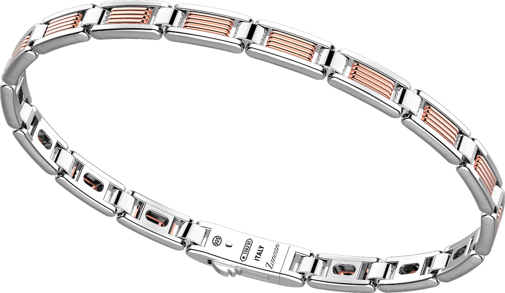 商品18k rose gold and sterling silver bracelet with geometric design.图片