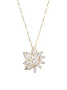 商品Diana 14K Gold-Plated & Cubic Zirconia Cluster Pendant Necklace图片