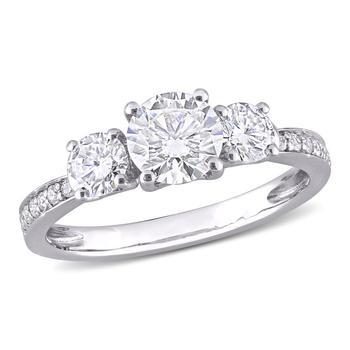 商品Amour 10k White Gold 1 3/8 CT TGW Created White Moissanite Fashion Ring图片