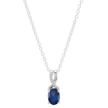 商品Dazzling Rock Dazzlingrock Collection 14K 7X5 MM Oval Cut Lab Created Blue Sapphire & Round Diamond Ladies Pendant, White Gold图片