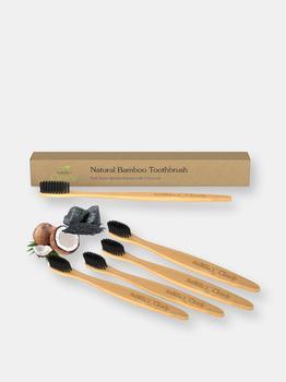 商品Clearly BAMBOO Soft Toothbrush, Charcoal Infused Bristles (Set)图片