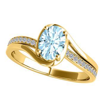 商品Maulijewels Ladies 10k Yellow Gold 1.3 CT Oval Cut Blue Aquamarine Split Shank Ring Size 6图片