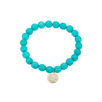 商品Gold Flash-Plated Semi-Precious Reconstituted Turquoise Stone Crystal Celestial Stretch Bracelet图片