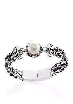 商品Freshwater Pearl Braided Bracelet in 18k Yellow Gold and Sterling Silver图片