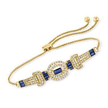 商品Ross-Simons Sapphire and . Diamond Bolo Bracelet in 18kt Gold Over Sterling图片