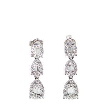 商品New J Collection Earring 60 Rddi 1.22 Ct12 Tpditp 0.37 Ct18kw 4.25 Gm 18kt White Gold Silver图片