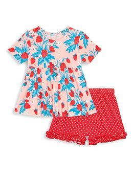 商品Little Girl's & Girl's Strawberry Printed 2-Piece Ruffled Cap-Sleeve Peplum Top & Biker Short Set图片