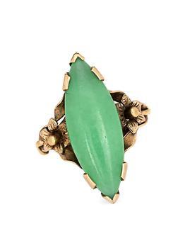 商品Vintage 10K Yellow Gold & Jade Cocktail Ring图片