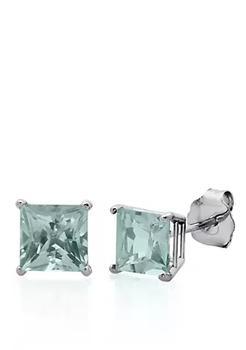 商品10k White Gold Aquamarine Stud Earrings图片