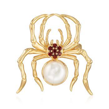 商品Ross-Simons 9.5-10mm Cultured Pearl and . Garnet Spider Pin in 18kt Gold Over Sterling图片