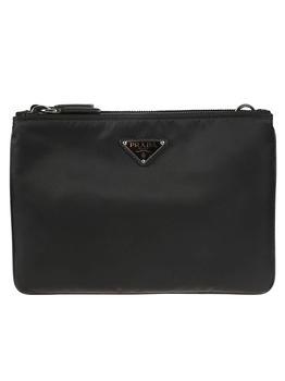 商品Prada Double Top Zip Logo Plaque Shoulder Bag图片