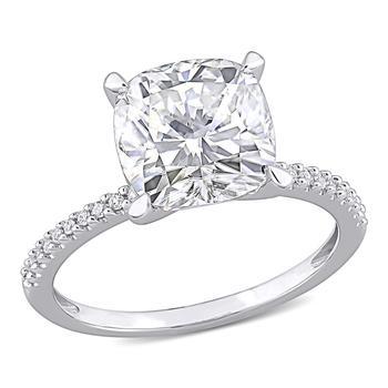商品Amour Ladies 14k White Gold 3.5 Ct Cushion Cut White Moissanite Solitaire Ring Size 6图片