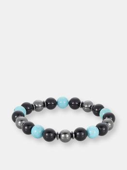 商品10mm Bead Stretch Bracelet Featuring Turquoise, Shiny Black Onyx and Magnetic Hematite图片