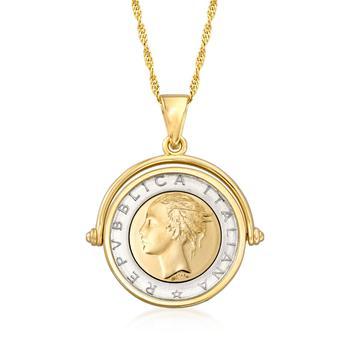 商品Ross-Simons Genuine Lira Coin Necklace in 18kt Gold Over Sterling From Italy图片