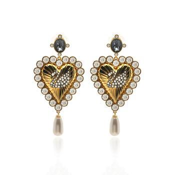 商品Swarovski Vintage Swan Gold Tone Dark Multi Colored Crystal Earrings 5489221图片