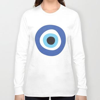 商品Blue Evil Eye Symbol Lucky Charm Black Background Long Sleeve T-shirt图片
