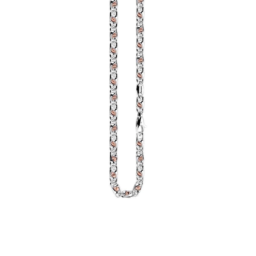 商品18K rose gold and sterling silver necklace with geometric design图片