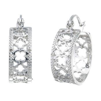 商品1/20 cttw Clover Diamond Hoop Earrings in Brass with Rhodium Plating 1/2 Inch图片