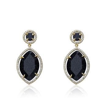 商品Riccova Sand Stone 14k Gold Plated CZ Detailed Blue Sand Stone Teardrop Dangle Earring图片