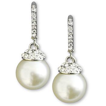 商品纪梵希珍珠镶钻耳坠 Givenchy Earrings, Crystal Accent and White Glass Pearl图片