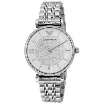 商品阿玛尼 经典满天星 白色水晶密镶表盘不锈钢女士石英手表 AR1925图片