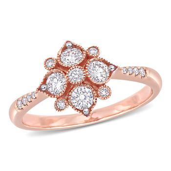 商品Amour 14k Rose Gold 1/2 CT TDW Diamond Geometric Engagement Ring图片