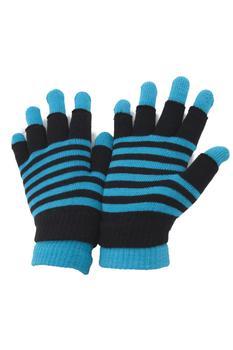 商品Ladies/Womens Striped Thermal 2 In 1 Magic Gloves (Fingerless & Full Fingered) (Teal) ONE SIZE ONLY图片