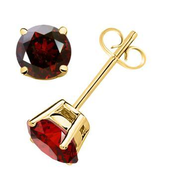 商品Maulijewels 14K Solid Yellow Gold 0.25 Carat Natural Round Red Diamond Three Prong Set Martini Stud Earring图片