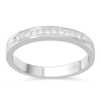 商品Haus of Brilliance Sterling Silver 1/5 ct TDW Princess Cut Diamond Fashion Band Ring (H-I, I2)图片