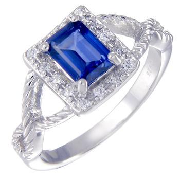 商品1 cttw Created Blue Sapphire Ring Emerald Shape .925 Sterling Silver Ring图片