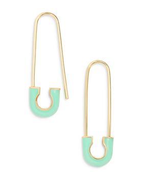 商品Tapa Color Accent Safety Pin Drop Earrings in 18K Gold Plated Sterling Silver图片