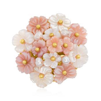商品Ross-Simons Italian Pink and White Mother-Of-Pearl Flower Ring With Cultured Semi-Baroque Pearls in 18kt Gold Over Sterling图片