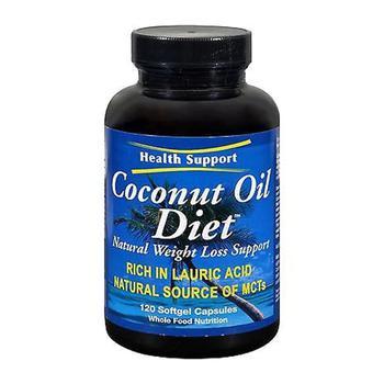商品Health Support Gluten Free Coconut Oil Diet Natural Weight Loss Support Softgels, 120 Ea图片