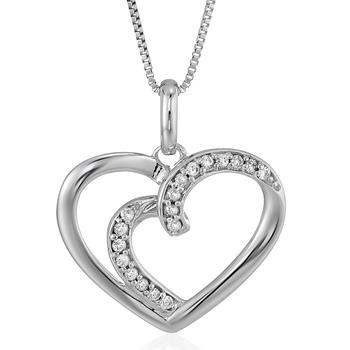 商品1/12 cttw Diamond Heart Pendant Necklace 14K White Gold with 18 Inch Chain图片
