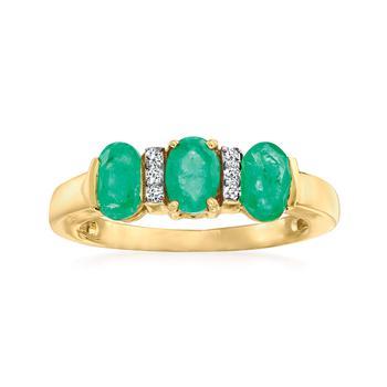 商品Ross-Simons Emerald Ring With Diamond Accents in 14kt Yellow Gold图片