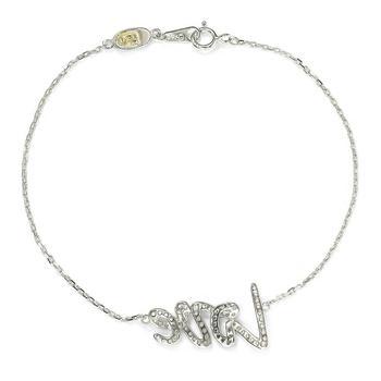 商品Suzy Levian Sterling Silver Sapphire and Diamond Accent Love Bracelet - Blue图片