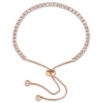 商品Amour Rose Silver 3 3/4 CT TGW White Topaz Tassel Bolo Bracelet图片