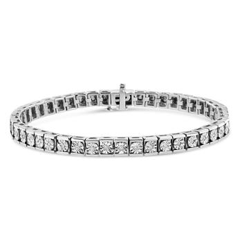 商品Haus of Brilliance .925 Sterling Silver Miracle Set Diamond Accent Classic Tennis Bracelet (I-J Color, I2-I3 Clarity) - 7.25''图片