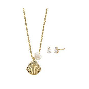 商品2-Pc. Set Mini Pearl Shell Pendant Necklace & Stud Earrings in Gold Tone Plated Silver, Created for Macy's图片