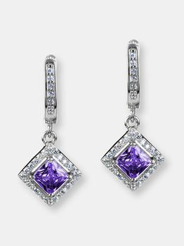 商品Elya Cushion-cut Cubic Zirconia Halo Dangling Sterling Silver Earrings (32 Mm)图片