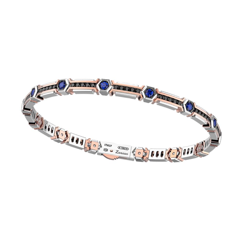 商品18k white & rosde gold bracelet with sapphires and black diamonds.图片