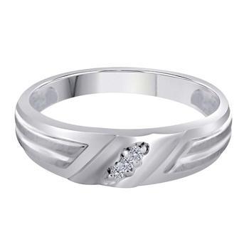 商品Maulijewels 0.045 Carat Natural Round Shape 3-Stone Prong Set Diamond Ring For Men Crafted In 10k White Gold图片