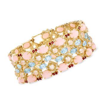 商品Ross-Simons Pink Opal and Multi-Gemstone Bracelet in 18kt Gold Over Sterling图片
