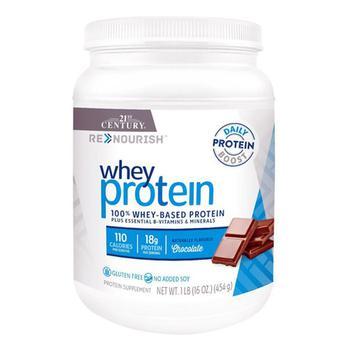 商品21st Century Renourish 100% Whey Based Protein Plus Essential B-Vitamin And Minerals Powder, Chocolate Flavored, 16 oz图片